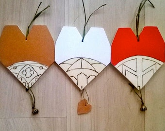 Nordic style pyrographic hearts