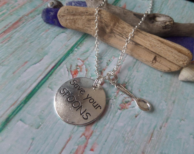 Save your spoons necklace, fibromyalgia gift, fibro spoon necklace, awareness necklace, invisible illness gift, chronic pain, me necklace