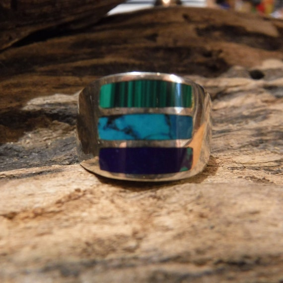 Mens Large Sterling Mexican 925 Ring Native Heavy 13.9 grams Size 8 Mens large Turquoise Inlay Ring  Jewelry Mens Ring Large Silver Ring