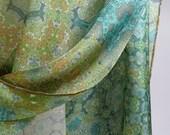 """Long Silk Scarf Shawl, Scarves for Women, Sage Green Silk, Unique scarves. Gifts for women,  """"Orient"""", Meditation shawl, Fractal"""