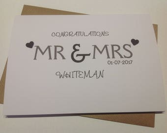 Handmade personalised wedding card - personalised with surname and date
