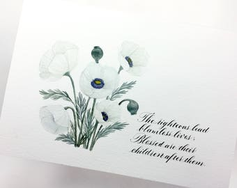 Original watercolor Painting   10x7   Limited Edition   Signed   Numbered   Calligraphy   Christian   Bible Verse   Psalms