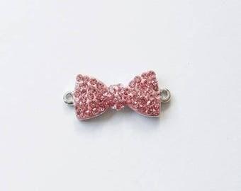 Swarovski crystal rhinestone bow connector pink