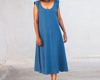 Blue swing dress in midi length