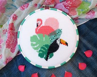 Pink Flamingo Cross Stitch Pattern PDF, Bird Cross Stitch Pattern Chart, Cool Cross Stitch Birds, Flamingo DIY Gift, Toucan, Hawaii, Summer