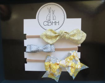 Yellow & Grey Bow Headband Set.  Chevron, Geometric Print, Baby, Newborn, Infant,Toddler, Shower Gift, Nursery, Accessories, Boutique, Girl