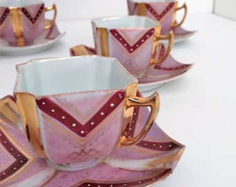 Art Deco Demitasses, 5 cups and saucers