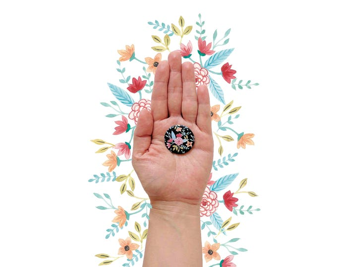 Pin back button flowers| Button floral | Pin back button heart of flowers | Pinback to bag | Pinback Buttons to jacket | Pins with flowers
