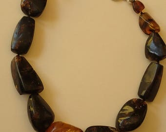 Extra Large Dark Chunky Amber & Coral Necklace