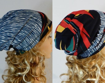 Fall-winter beanie hat women Double sided beanie Reversible beanie Slouchy beanie women Sweater knit fabric beanie hat stretch M-L