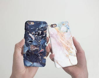 Case iPhone 8 Case White Marble iPhone 7 Plus Case Couple iPhone 6S Plus Case Blue Marble iPhone 7 Case Double to Samsung Case RD1921