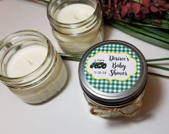 12 - 4 oz Baby Boy Shower Favors - Tractor Theme -Personalized Baby Shower Candles - Candle Favors - Candle for Guests  - Soy Candles