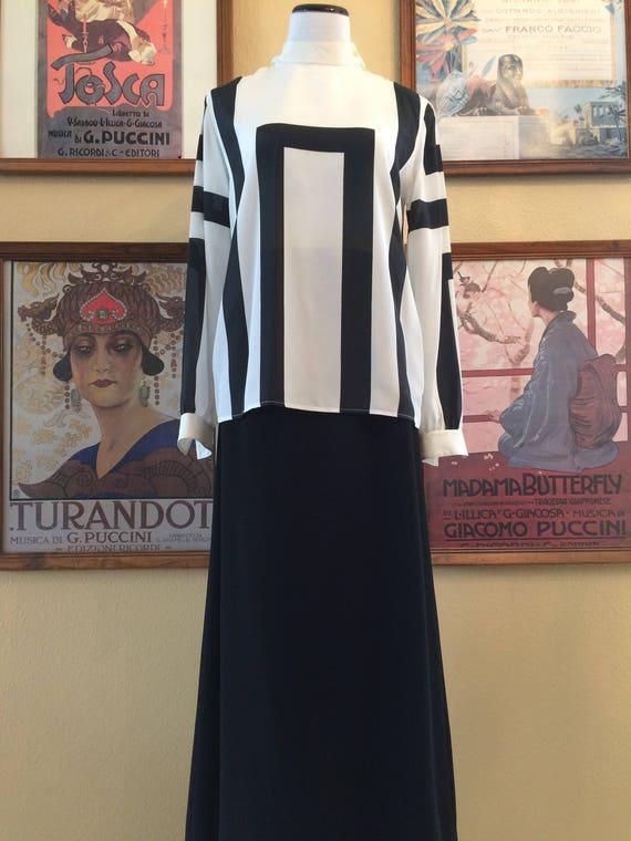 Serge Nancel Paris Elegant Black and White Blouse