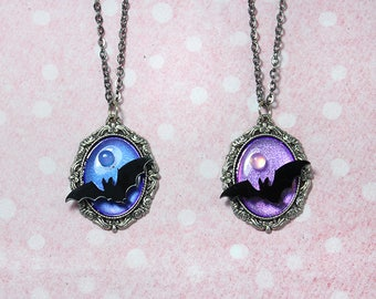 Spoopy Duochrome Full Moon Bat Pastel Goth Necklaces