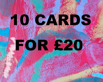 Special offer on cards- Ten for twenty pounds- Card set offer- Collaged animal cards- Colourful cards- Blank card set- Greeting cards set