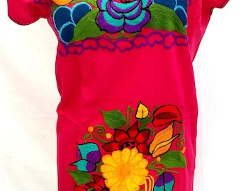 Mexican Dress Short FUCHSIA color  beautifully embroidered Floral Bouquet in multi-color - Peasant One Size may fit up to L Mexican Clothing