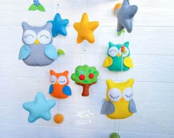 Music baby mobile Felt Owls Owls Woodland animals  Nursery Room Owls Crib mobile Nursery room Costom baby mobiles nursery mobile