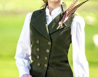 Lady's Regency Waistcoat (Bracken Green Moleskin)