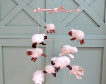 baby mobile crib mobile needle felted mobile sheep baby mobile nursery decor baby shower gift counting sheep