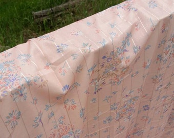 Sale,Peach floral nylon fabric,  with metallic  horizontal stripes, Width 60 inches, Length 112 inches (3.1 yards)