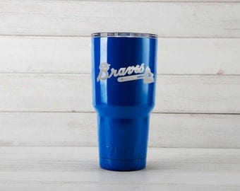 Yeti Tumblers Engraved With Atlanta Braves Personalized Yeti Tumblers 20 oz Atlanta Braves Yeti Gift For Men
