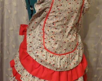 Ruffle apron - Cross-back full apron - vintage/retro style - handmade, no pattern, one of a kind