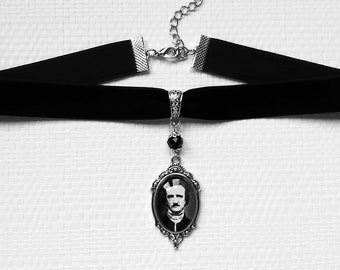 choker cameo writer author Edgar Allan Poe silver the raven nevermore the black cat gothic dark poetry horror