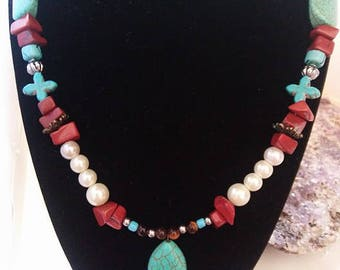 Turquoise, Glass Pearls, and Sandstone Necklace