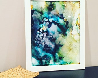 Modern Abstract Painting, Giclee Print, Unframed, Home Decor, Wall Art, blue, green