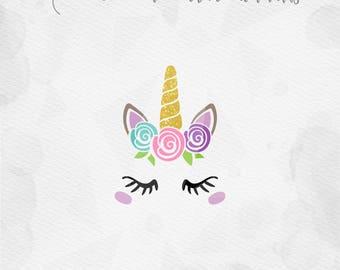 Unicorn SVG Unicorn Head SVG Unicorn Face SVG  with Roses Unicorn horn Birthday - Cricut Silhouette - pdf png svg - girls birthday kids svg