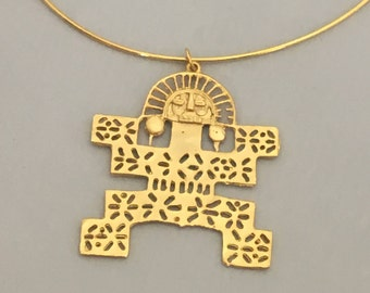 Pectoral Shaman PreColumbian LARGE Gold Statement Necklace- Colombia- 24K Gold Plated