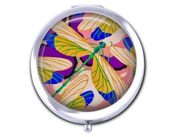 Dragonfly pocket mirror compact mirror, French Art Deco, artist E. A. Seguy, teacher gift for her, silver purse mirror, gift under 15.