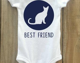 Cat Baby Bodysuit, Cat Best Friend, Cat Shirt, Cat Lover Gift, Cat Baby Clothes, Cat Bodysuit, Baby Clothes with Cat, Cat Owner gift