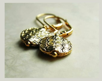 Gold Coin Ear-rings // Tribal Bubble Design // Antiqued Gold Ear-rings // Gold Lever-back Ear-wires (One Pair)