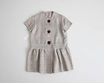 1960s girls dress | hand loomed dress | striped linen dress