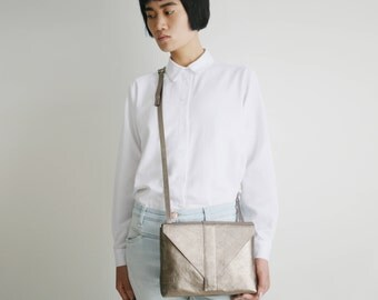 "Minimalistic Cross Body Bag ""Envelope"" Bronze Leather, satchel bag, box bag, envelope purse, metallic crossbody"