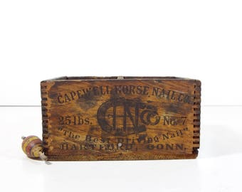 Vintage Wood Advertising Box / Capewell Horse Nails Small Wooden Crate Box / Industrial Decor