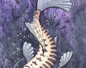 Fantasy Art Print- Lace and Bone - 5x7 Open Edition Print - Fantasy Surreal Koi Fish Art