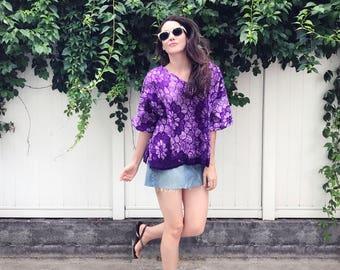 Vibrant Violet Print Tee  - vintage fabric