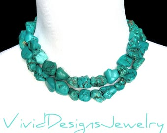 """Chunky Double Strand Turquoise Nugget Statement Necklace- """"Megan"""" Fox Necklace- Two Strand Necklace- Double Layer Turquoise Nugget Necklace"""