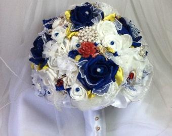 Beauty and The Beast Wedding-Disney Wedding-Bridal Flowers-Bridal Bouquet-Brooch Bouquet-Wedding Flowers-Destination Disney-Fantasy Wedding