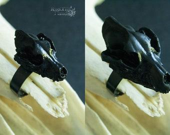 Wolf skull ring. Black skull jewelry. Wolf ring. Pagan jewelry. Pagan ring. Wicca ring. Wicca jewelry. Goth ring. Goth jewelry. Gothic ring