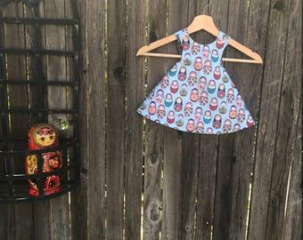 Reversible Cross back Swing Dress | Matryoshka/Babushka Dolls and Polka Dots | 6-9mo