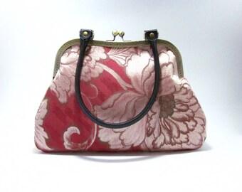 Rose Pink Peony bag / Vintage kimono Obi bag/ Hand made bag /3