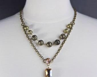 Multi Strand Swarovski Crystal Beaded Bridal Necklace, Jewelry Trends 2017, Shabby Chic, Champagne Crystal Necklace, Bridal Jewelry