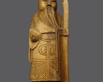 Vintage Wooden Sculpture Japanese Chinese Art Old Man Sage Human Figure Figurine Hand Carved