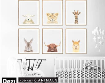 Nursery decor, Animal Decor, Animal Art Print Set, Nursery Wall Decor, Baby Animal Room Decor, Nursery Prints, Baby Animal Art