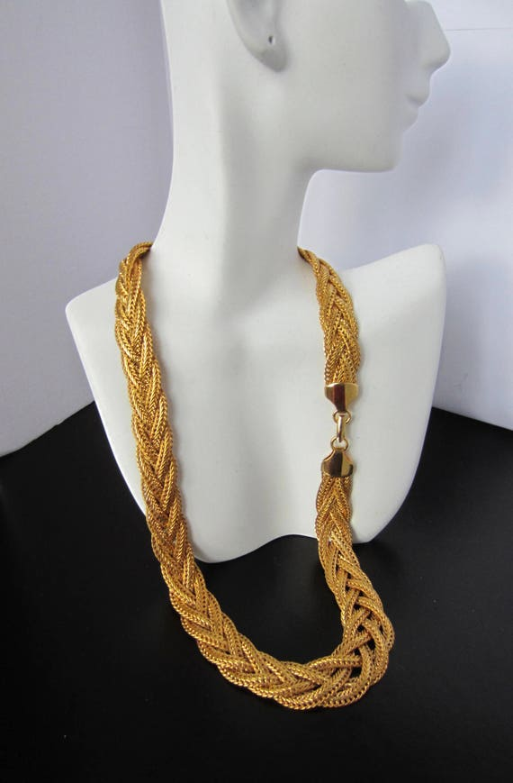 Early Napier Patent signed Multi-strand, BRAIDED gold tone Necklace ~pretty, timeless, vintage costume jewelry
