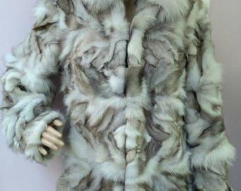 New,Real Natural color Blue  Fox Fur coat!