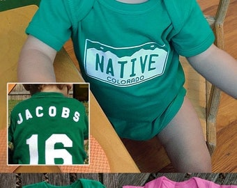 Colorado NATIVE License Plate Onesie - This Handcrafted Colorado Native Onesie is Personalizable! Customize it for the perfect CO baby gift!